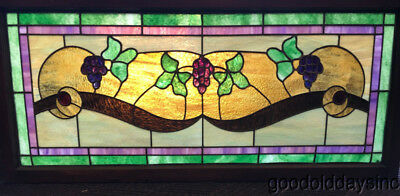 "Antique Stained Leaded Glass Grape Transom Window Chicago 47"" by 21"" Circa 1910"