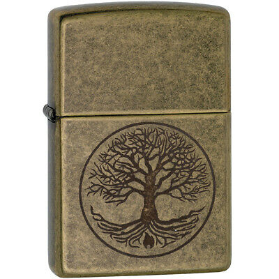 Zippo Tree of Life Antique Brass Windproof Pocket Lighter