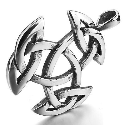 MENDINO Mens Stainless Steel Pendant Necklace Irish Celtic Knot Triquetra Silver