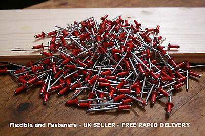 FLAME RED 4mm x 10mm STANDARD FLANGE DOME HEAD POP ALUMINIUM/STEEL RIVETS