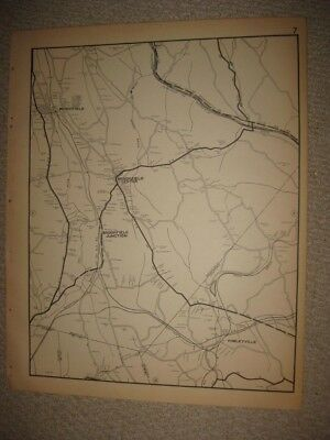 Large Rare Antique 1931 Brookfield Hawleyville Fairfield County Connecticut Map