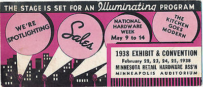 1938 Adv. Blotter Minneapolis, Minnesota Hardware Convention & Exhibit