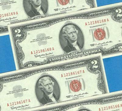 5-$2.00 1963 Consecutive  Legal Tender  Red Seal United States Notes Gem New