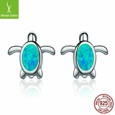 Shine Luxury 925 Sterling Silver Natural Opal Sea Turtle Stud Earrings for Women