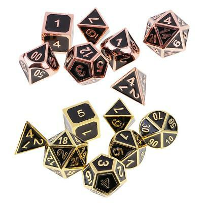 14pcs Polyhedral Game Dices for Party Board RPG Game Copper+Golden