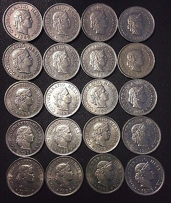 Old Switzerland Coin Lot - 10 RAPPEN - 20 Coins - FREE SHIPPING