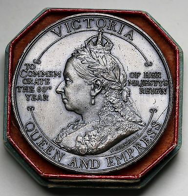 New Zealand Queen Victoria Diamond Jubilee Medal 1897 In Case of Issue  UNC RARE