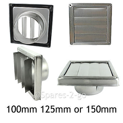 Stainless Steel Square Grille Gravity Flaps Wall Air Vent Outlet 100 125 150mm