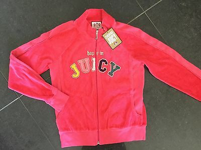 NWT Juicy Couture New & Genuine Girls Age 8 Pink Velour Jacket With Juicy Logo