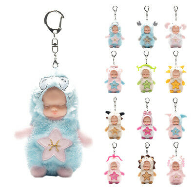 Sleep Baby Doll Adorable Twelve Constellations Simulation Keychain Plush Keyring