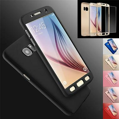 Hybrid 360° Hard Case +Tempered Glass Cover For Samsung Galaxy S6 S7 Edge S8 +