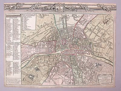 1762 Hand Colored Engraving Map of Paris