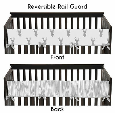 Grey And White Woodland Deer Front Rail Guard Crib Cover Baby Teething Protector