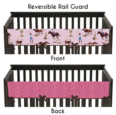 Cowgirl Western Long Front Rail Guard Baby Girl Teething Cover Crib Protector