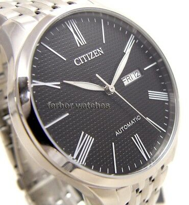 CITIZEN MEN AUTOMATIC STAINLESS STEEL DAY DATE 50m NH8350-59E