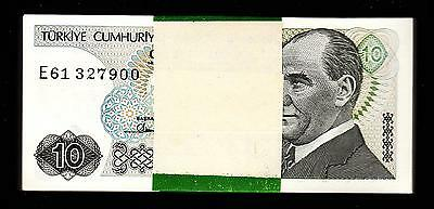 Turkey 10 Lira 1970 (1982)  Bundle Unc Consecutive 97 Pcs  P-193