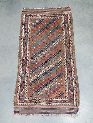 Attic Fresh Antique 19c Baluch Rug Handwoven All Natural Fibers & Dyes 55 x 29""
