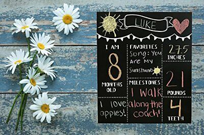 JennyGems Chalkboard Sign - Baby Milestone Months - Monthly Baby Photo Props