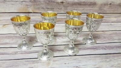 6 Vintage Plated Drinking Glasses Cups Goblets Set - Made in Japan Small Wine