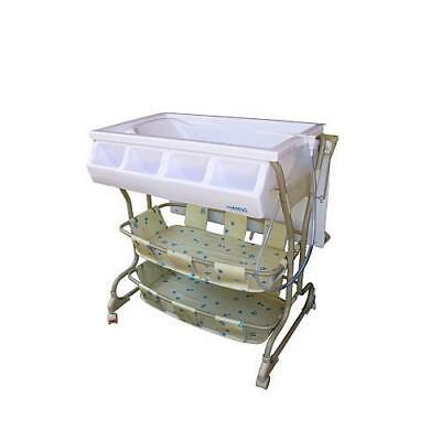 New Baby Diego Bathinette Baby Bath & Changing Table With Wheels Combo - Beige