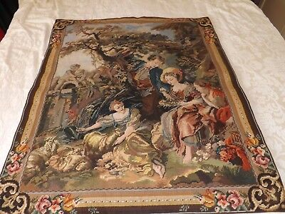 SUPERB HAND WORKED TAPESTRY WALL HANGING  of COURTING COUPLE UNDER TREE