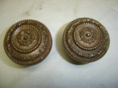Antique Pair Brass Embossed Door Knobs Copper Bronze look,  7828