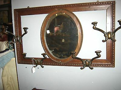 Antique Oak Hat Rack Mirror with Hooks.  8001