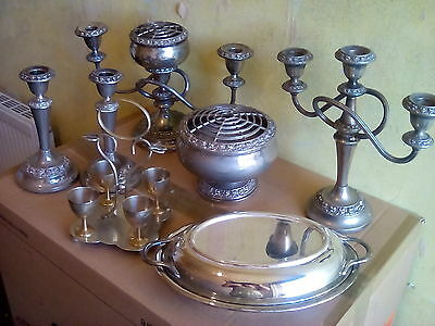 Vintage Lanthe Silver Plate Candelabras and silver plated lot walker &  hall.