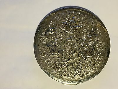 """Vintage Tussy Compact with Hunting Scene, 3 1/4"""" in dia."""