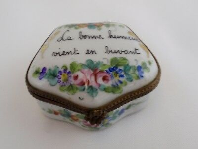 French Antique Hand Painted Floral Hinged Trinket Box Drinking Saying