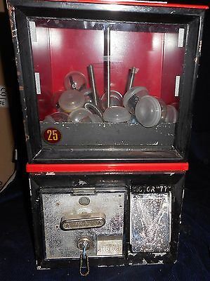 """Vintage """"victor 77"""" Capsule Prize Vending Machine, Red, With Key & Prizes"""