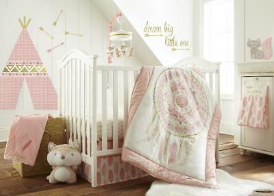 New Levtex Baby Little Feather 5 Piece Crib Bedding Set - Coral Model:6DF41568