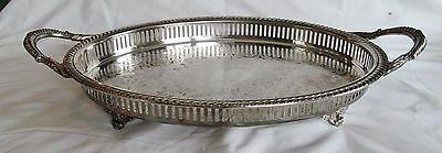 Exceptional 50s 2-handled Silver Plate Footed Tray Ornate Gallery English Silver