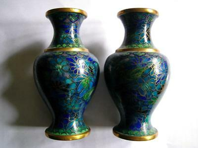 Chinese cloisonne pair of vases green blue ground & flower decoration 20thC