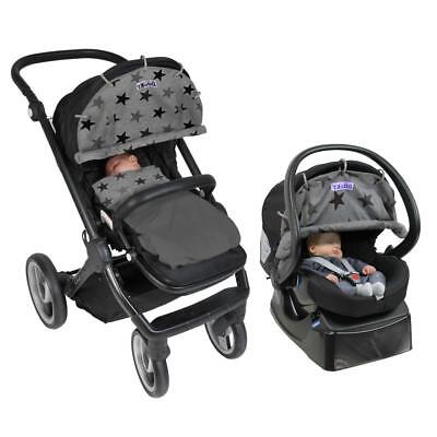 New Candide Dooky(R) Original Universal Stroller and Car Seat Cover - Grey Stars