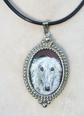 Hand Painted Borzoi Russian Wolfhound faux stone pendant