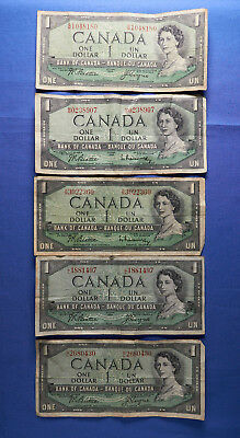 1954 Canadian $1 Notes. Lot of 5!