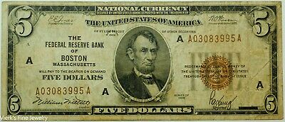 1929 $5 Federal Reserve Boston Mass National Currency Brown Stamp Circulated