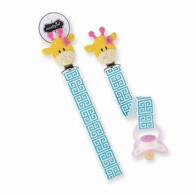 * MUD PIE Baby PACIFIER PACY CLIP Embroidered Felt Ribbon GIRAFFE ANIMAL Cute~