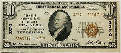 1929 $10 Federal Reserve New York National Currency Brown Stamp Circulated