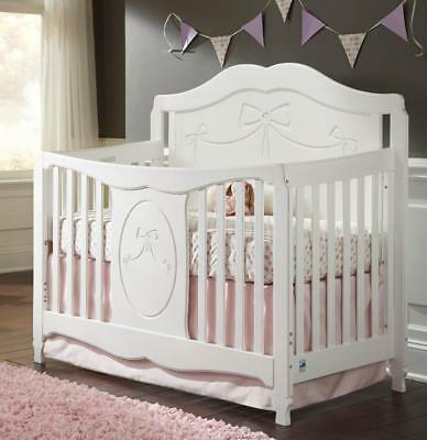 New Stork Craft Princess 4-in-1 Fixed Side Convertible Crib - White