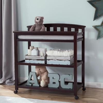 New Delta Children Arched Changing Table with Casters - Dark Chocolate