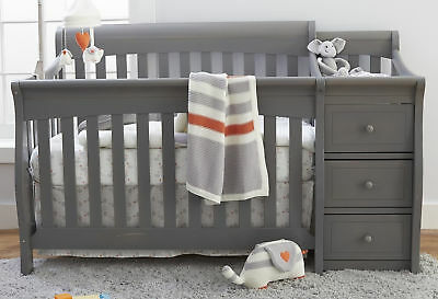 New Sorelle Princeton Elite 4-in-1 Convertible Crib and Changer - Weathered Grey
