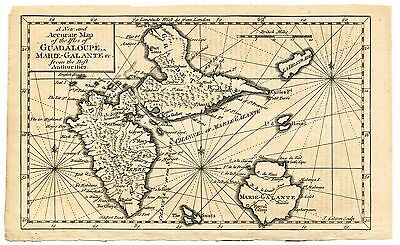 18th Century - A New and Accurate Map of the Isles of Guadaloupe, Marie-Galante