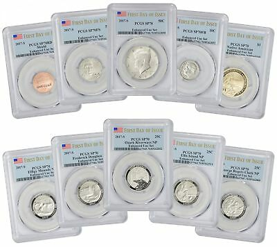 2017-S 225th Ann. Enhanced Uncirculated 10 Coin Set SP70 PCGS First Day Issue FL