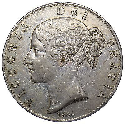 1844 Crown (Star Stops) - Victoria British Silver Coin - V Nice