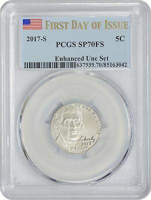 2017-S Enhanced Uncirculated Set Jefferson Nickel SP70FS PCGS First Day Issue FL