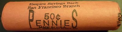 """One Original Wheat Cent Penny Bank Roll """"Empire Bank San Francisco"""" 50 coins k2"""