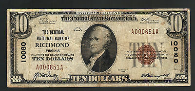 $10 1929 CENTRAL BANK of RICHMOND VA Brown Seal Old National Paper Currency Note