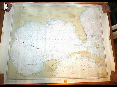 Vintage 1979 Nautical Chart Depths Maritime Map Gulf of Mexico Loran A&C 2 Sides